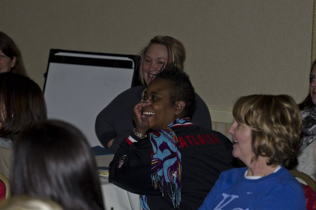 "REDMOND, Wash.  ""  Spouses of deployed Soldiers were very amused at the similarities in their marriages during the Strong Bonds retreat seminar at the Redmond Marriott Town Center Jan. 28. (US Army photo by Sgt. James Hale)"