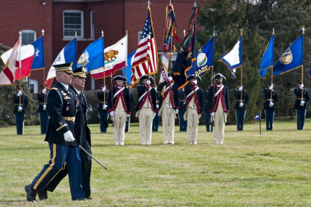 Army Vice Chief of Staff Gen. Peter W. Chiarelli walks across the parade field during his retirement ceremony on Joint base Myer-Henderson Hall in Arlington, Va., Jan. 31, 2012.