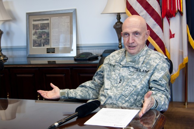 Maj. Gen. Nick Justice gives an exit interview to RDECOM historian Jeff Smart on the occasion of his retirement after 42-years of service to the U.S. Army.