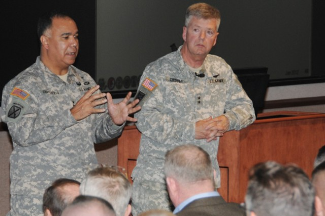 Maj. Gen. Anthony G. Crutchfield, USAACE and Fort Rucker commanding general, and Maj. Gen. Tim Crosby, Program Executive Office, Aviation commanding general, answer questions at the Aviation Senior Leader Conference at the post Jan. 23-26.