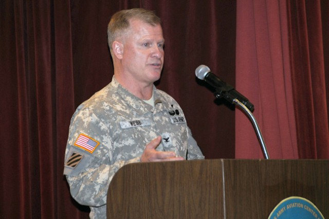 Col. Grant A. Webb, new TCM-UAS, speaks at the change of charter ceremony at The Landing Jan. 27.