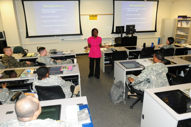 Shatara Seymour, public affairs specialist, provides the Public Affairs/Media Interaction brief to Soldiers in the Chemical Captains Career Course Jan. 24.