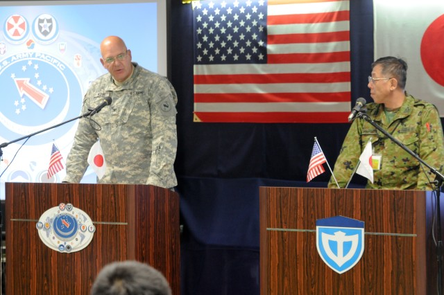 Col. Thomas Kunk, U.S. Army Pacific Contingency Command Post  G-3 and Col. Sumio Yamashita, Japanese Ground Self-Defense Force (JGSDF) Middle Army G-3 discuss operations during a mock press conference at Camp Itami, Japan Feb. 2.   The press conference is part of Yama Sakura 61 which is being held just north of Osaka.  Yama Sakura is an annual, Japan-based, simulation-driven, joint-bilateral command post exercise held with JGSDF and U.S. forces.  Yama Sakura is designed to enhance U.S. and Japan combat readiness and interoperability and strengthen military relationships.
