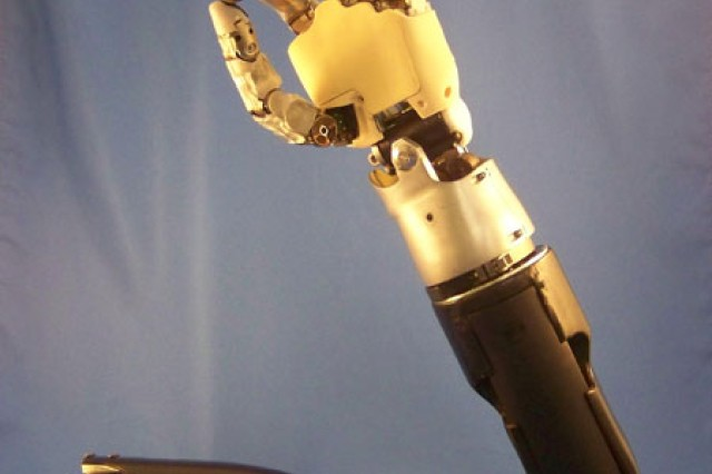 "Defense Advanced Research Projects Agency's ""neurally integrated"" Modular Prosthetic Limb will allow amputees to control movements directly with their thoughts --- just like a real arm."