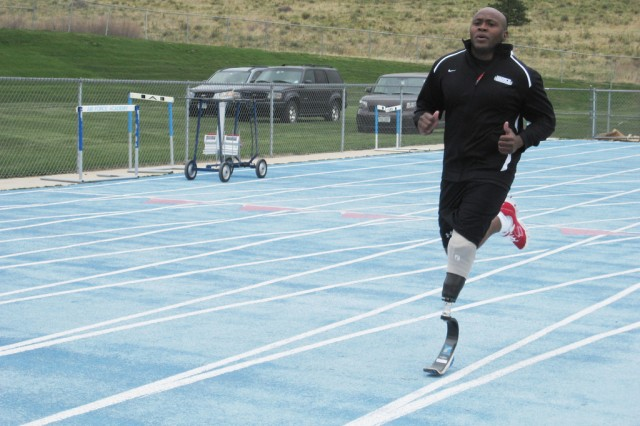 Warrant Officer Johnathan Holsey takes part in the first ever Warrior Games in Colorado Springs, Colo., May 14, 2010, where he participated in the 200-meter dash, 400-meter dash and cycling events.
