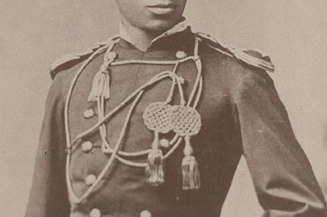 Picture of 2nd Lt. Henry Flipper, the first black graduate from West Point, in 1877. At Fort Sill, he commanded the Buffalo Soldiers of the 10th Cavalry. Prior to his taking command, all-black Army units were commanded by white officers.