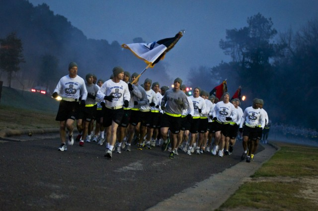 Over 14,000 Soldiers from across the XVIII Airborne Corps participated in the XVIII Airborne Corps run at Fort Bragg, Feb. 2. Lt. Gen. Frank Helmick, commanding general, XVIII Abn. Corps and Fort Bragg, and Command Sgt. Maj. Earl Rice, XVIII Abn. Corps and Fort Bragg command sergeant major, led the Soldiers along the four-mile route. The XVIII Abn. Corps recently redeployed from a year-long deployment to Iraq as part of Operation New Dawn. Runners included Soldiers from the 10th Mountain Division out of Fort Drum, N.Y., the 3rd Expeditionary Sustainment Command from Fort Knox, Ky., the 35th Signal Battalion from Fort Lewis, Wash., and 3rd Infantry Division from Fort Stewart, Ga.