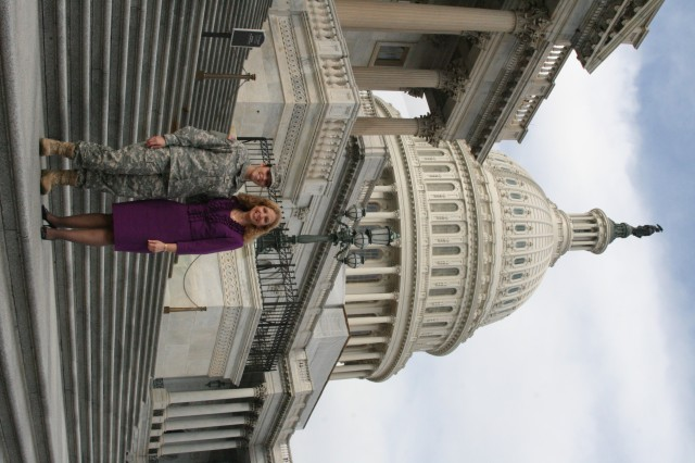 2nd Lt. Brittany Ramos and Congresswoman Debbie Wasserman Schultz hours before the State of the Union address.
