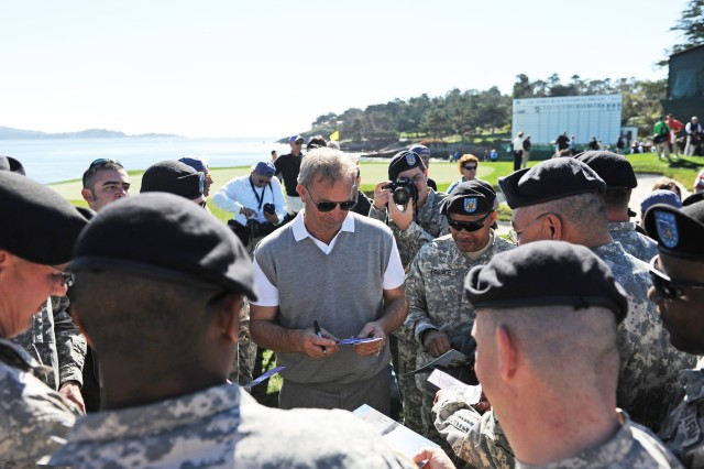 PRESIDIO OF MONTEREY, Calif. -- Actor Kevin Costner signs autographs for Soldiers during last year's 3-M Celebrity Challenge at Pebble Beach. Many celebrities are attending this year's event as well.