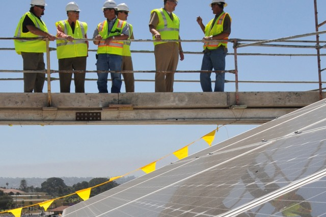 Solar panels being installed as part of power microgrid