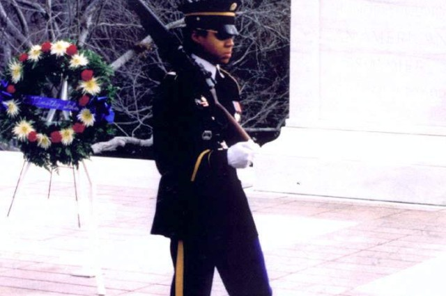 Sgt. Danyell Wilson was the first African-American female to earn the tomb sentinels badge. She received her badge Jan. 22, 1997.