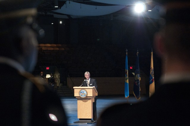 Secretary of the Army John McHugh gives remarks during the swearing in ceremony for the 33rd Vice Chief of Staff of the Army Gen. Lloyd J. Austin III, at Joint Base Myer-Henderson Hall, Jan. 31, 2012.