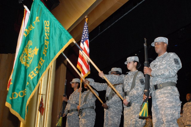 Miami Jackson Senior High School color guard during the departure ceremony of the 841st Engineer Battalion's headquarters and forward support companies at Miami Dade College, Feb. 4, 2012. Both companies will deploy to Afghanistan as part of Task Force Hurricane to provide command and control of combat and construction missions. The task force will also collaborate with the Afghan National Army in Regional Command North to improve security, development, and governance of the Government of the Islamic Republic of Afghanistan. (Photo by Sgt. 1st Class Phillip Eugene, 412th TEC Public Affairs)