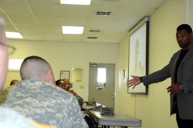 Heisman Trophy winner and former Dallas Cowboys running back Hershel Walker speaks to members of the Warrior Transition Battalion Jan. 24, 2012. Walker was visiting members of Fort Bliss, Texas, to spread the message of seeking help if you have behavioral health issues.