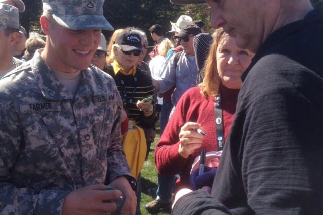 PRESIDIO OF MONTEREY, Calif. -- Actor Bill Murray signs an autograph for Pfc. David Farmer during today's Military Appreciation Day at Pebble Beach. More about free access to the tournament for service members: http://tiny.cc/a7oot