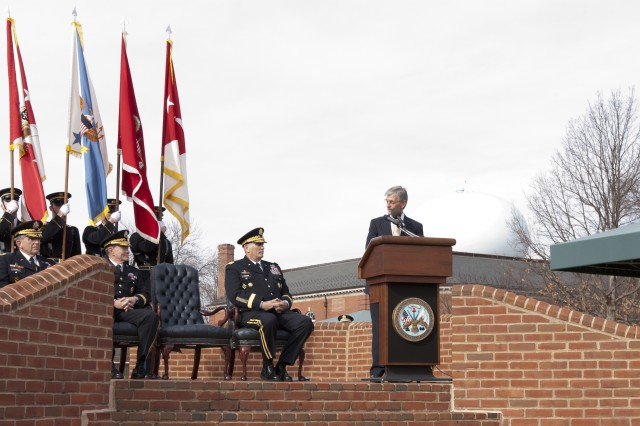 Secretary of the Army John McHugh delivers remarks during the retirement ceremony for Gen. Peter W. Chiarelli, the 32nd vice chief of staff of the Army, at Joint Base Myer-Henderson Hall, Jan 31, 2012.  Seated from left to right are Chiarelli, Chairman of the Joint Chiefs of Staff Gen. Martin E. Dempsey and Chief of Staff of the Army Raymond T. Odierno. (U.S. Army photo by Spc. John G. Martinez)