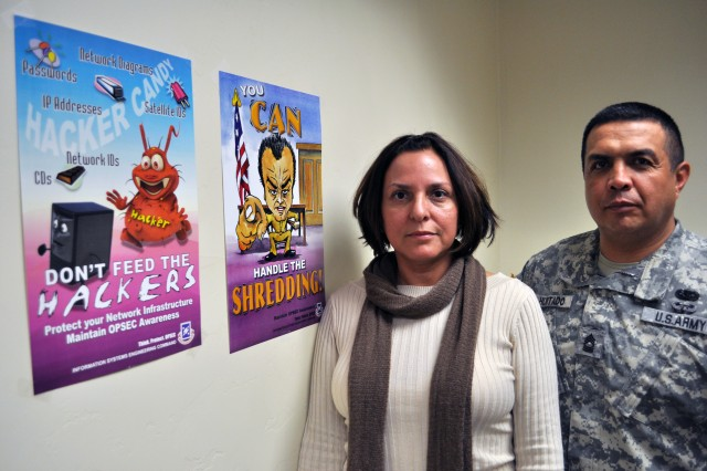 Diana Reyna, U.S. Army Information Systems Engineering Command Operations officer, and Master Sgt. Jose Hurtado, ISEC operations noncommissioned officer in charge, have won back-to-back awards for their OPSEC awareness poster campaign at the Department of the Army level. They hope to get the same results during this year's IOSS federal-wide contest.