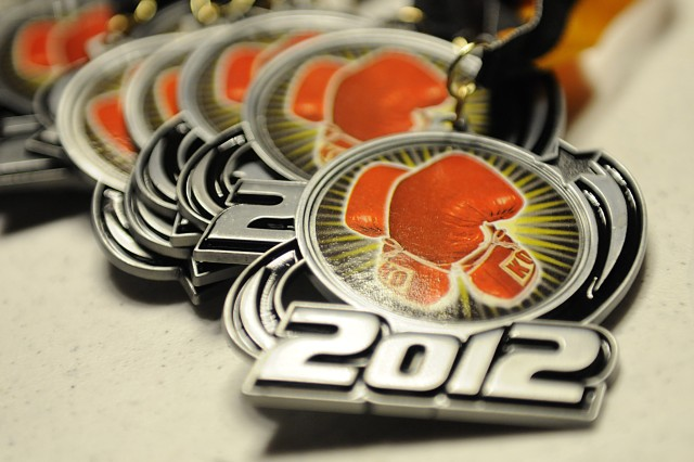 "Medals from the Fort Bliss and El Paso Golden Gloves ""Border Rumble"" Feb. 10, 2012 at Mitchell W. Stout Gym."