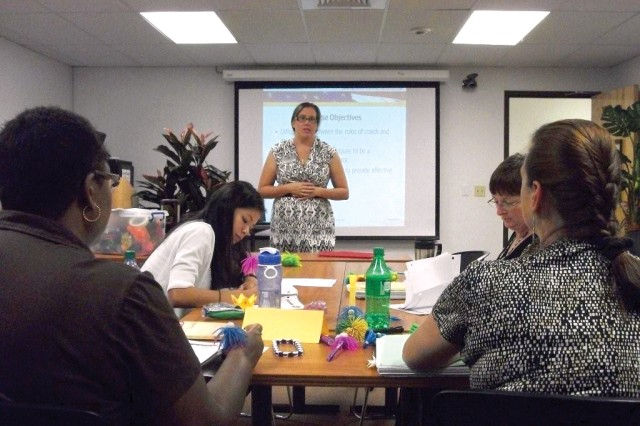 Nicole Roames (center), AFTB instructor, teaches an AFTB class that promotes personal development and growth at the Army Community Service Center, Schofield Barracks, recently. Soldiers, family members and Army civilians can enroll in the AFTB program.