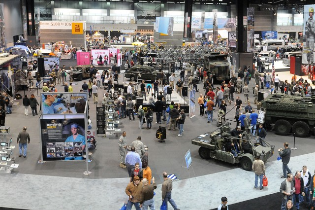 The U.S. Army Detroit Arsenal sent a collection of today's military fleet for display at the 2012 Chicago Auto Show.