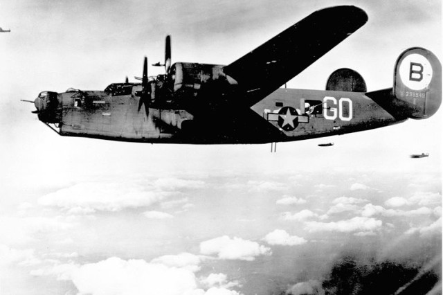 """A B-24 """"Liberator"""" bomber like those flow by Army Air Corps pilot Charles Evans during World War II."""