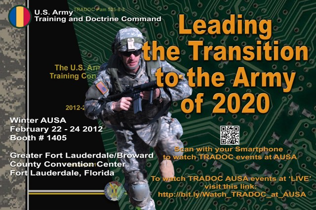 This year, those who are unable to attend the exposition will have the unique opportunity to watch TRADOC panels and presentations live via streaming Web video courtesy of the Army's Ustream channel - http://bit.ly/Watch_TRADOC_at_AUSA.