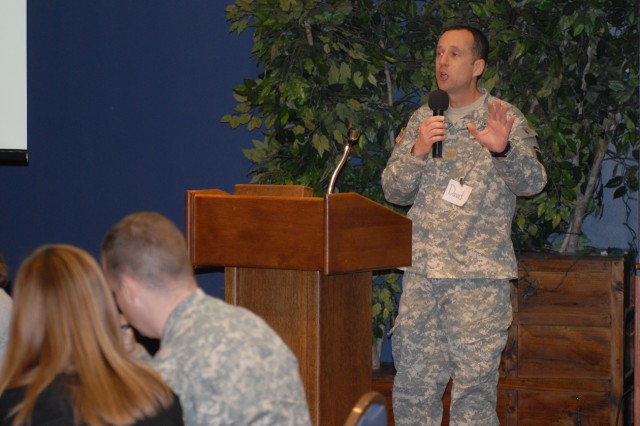 Maj. David Goldstrom, 2nd Brigade Combat Team chaplain, addresses the audience during 2nd BCT's Company Commanders and Spouses Resiliency Daytreat on Feb. 7 at the Commons.