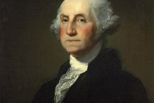This portrait of the first President of the United States, George Washington (22 February 1732 to 14 December 1799), is based on the Incomplete Athenaeum portrait by the American portraitist Gilbert Stuart (1755-1828) completed by Rembrandt Peale (1778-1860). The image was taken from the copy maintained by the Sterling and Francine Clark Art Institute, Williamstown.