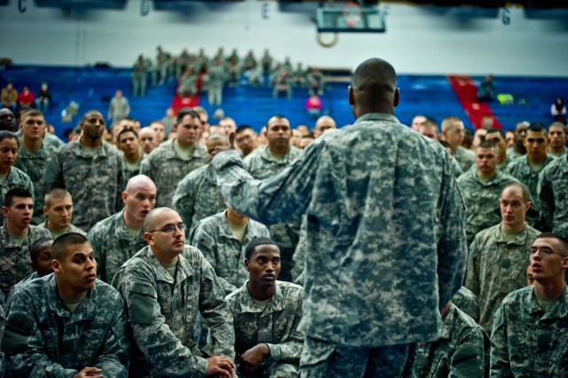 Soldiers receive a safety brief before the start of the 2012 Fort Hood Combatives Championship preliminaries Feb. 13 at the Abrams Physical Fitness Center on base.