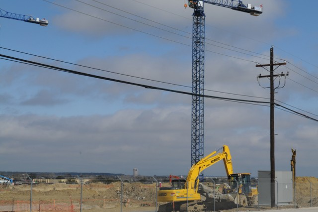 Work continues on the new Carl R. Darnall Army Medical Center, scheduled to be complete in 2015. The center is being built on land that formerly held Hood Stadium. (U.S. Army photo by Heather Graham-Ashley, III Corps and Fort Hood Public Affairs)