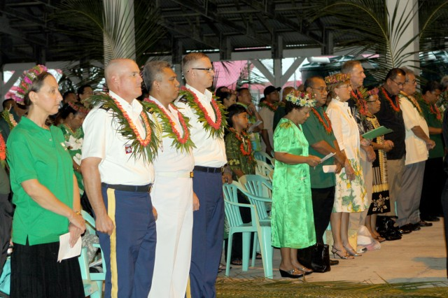 Dignitaries from the U.S., Kwajalein Atoll and the Indonesian Navy attend the Memorial Day celebration on Ebeye Feb. 9.