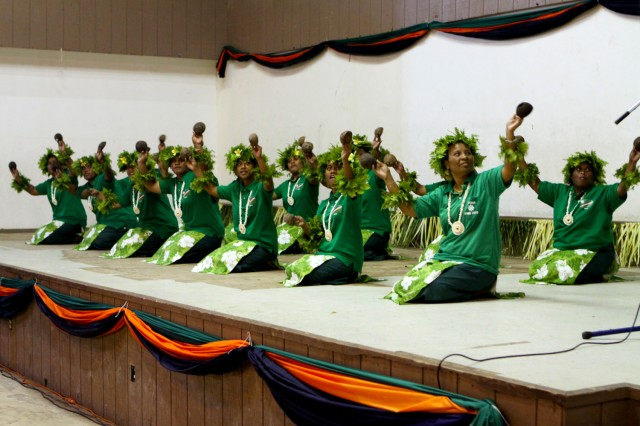 The Mid-Atoll Corridor Dancers perform at the Ebeye Community Center during the Memorial Day ceremony Feb. 9.