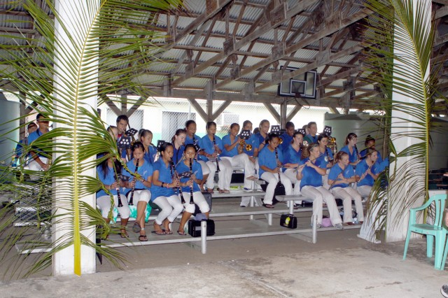 The Kwajalein Jr./Sr. High School Band puts on a performance at the Ebeye Community Center Feb. 9.