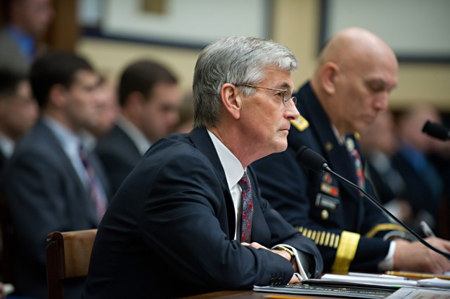 Secretary of the Army John McHugh and Army Chief of Staff Gen. Raymond T. Odierno testify before the House Armed Services Committee during the Army Posture hearing at Capitol Hill Feb. 17, 2012 in Washington, D.C.