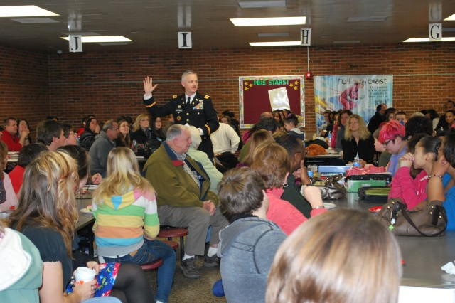 CECOM Chief of Staff, Col. William 'Bill' Montgomery, encourages students to strive for excellence during a Havre de Grace Middle School a honors breakfast Feb. 14 recognizing students who achieved a 3.5 grade point average or better in the last report card rating cycle.
