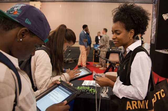 Visitors to the U.S. Army Accessions Command display were asked to take a short survey during their visit to the Career Fair as part of the BEYA Experience.
