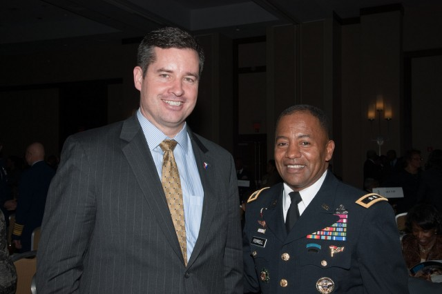 Dale Ormond, left, director, US Army Research, Development and Engineering Command, and Maj. Gen. Robert Ferrell, commander, U.S. Army Communications-Electronics Command, were part of the Aberdeen Proving Ground contingent attending the Stars & Stripes Dinner at the 26th annual Black Engineer of the Year Awards Experience in Philadelphia Feb. 17.