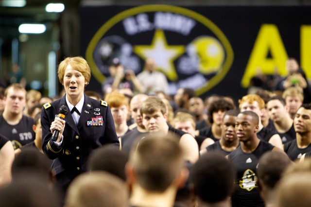 Colonel Peggy Combs, deputy commanding general of U.S. Army Cadet Command, addresses athletes and guests at the U.S Army All-American Bowl in San Antonio in January. Combs is Cadet Command's first female deputy commanding general.