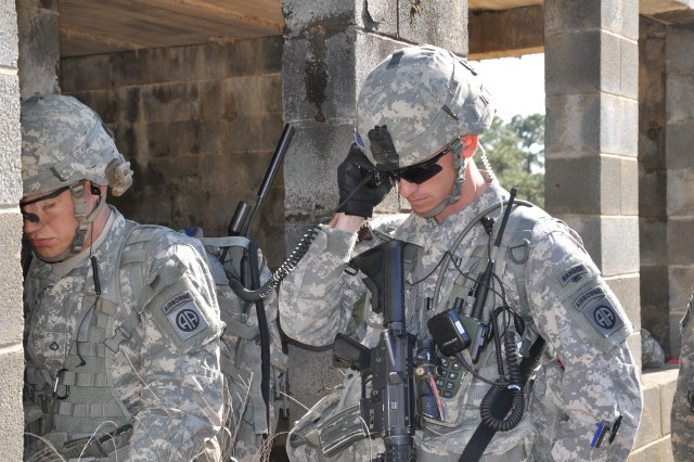 Paratroopers from 3rd Brigade Combat Team, 82nd Airborne Division, use Joint Tactical Radio System radios to communicate during a field exercise at Fort Bragg, N.C.