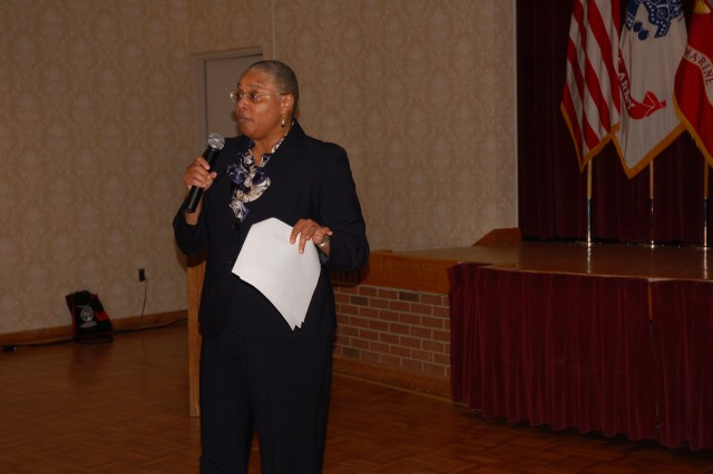 Carla J. Grantham, veteran, coach, public speaker and master facilitator and trainer, speaks to the audience attending the African-American/Black History Month ceremony Feb. 22 in the Community Center on Joint Base Myer-Henderson Hall.