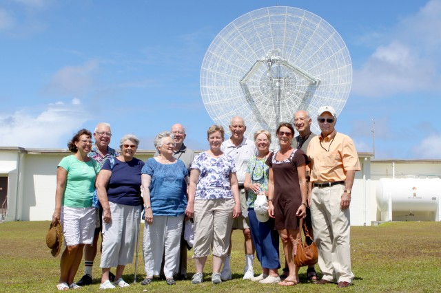 MIT/LL alumni and their families tour the TRADEX radar while on Roi for the 50th anniversary celebration Feb. 12.