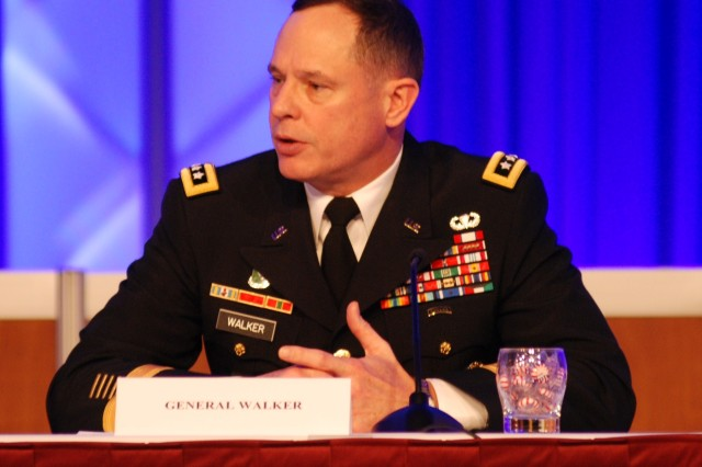 Lt. Gen. Keith Walker, deputy commanding general of Futures and director of TRADOC's Army Capabilities Integration Center, led the Investment Strategy Approach to Modernizing panel discussion Feb. 23, 2012, during the Association of the United States Army Winter Symposium in Fort Lauderdale, Fla.