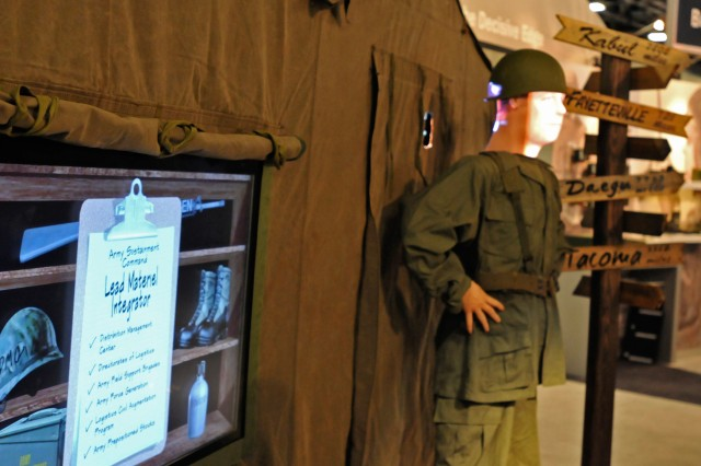 The Army Sustainment Command booth at the Association of the United States Army Winter Symposium, shown here, allows interaction with a lifelike mannequin and explains ASC's most prominent programs and tasks. The symposium was held Feb. 22-24 in Fort Lauderdale, Fla.