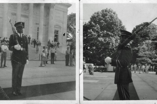 "Tomb Sentinel Spc. Fred Moore, 3rd U.S. Infantry Regiment ""The Old Guard,"" walks his tour more than 50 years ago in humble reverence at the Tomb of the Unknowns, Arlington National Cemetery, Va. Moore became the first African-American Tomb Sentinel in March 1961. Members of The Old Guard have guarded the Tomb every second, of every day regardless of weather or holidays since April 6, 1948."