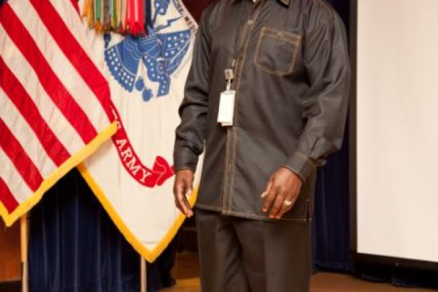 "TRIPLER ARMY MEDICAL CENTER, Hawaii -- David Harris, group practice manager, Department of Medicine, TAMC, sang the Black National Anthem, ""Lift Every Voice and Sing"" as part of TAMC's 2012 African American Heritage Month observance, Feb. 16, in Kyser Auditorium."