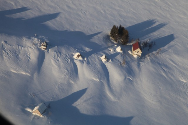 Montenegrin villages were slammed with some of the deepest snow in decades, which stranded the townspeople. Some 40 Soldiers from the 12th Combat Aviation Brigade were called in with two Black Hawks to assist in humanitarian and disaster relief Feb. 18, 2012.