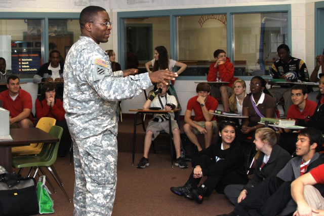 Lt. Col. David London of the U.S. Army Corps of Engineers Savannah District talks with Jenkins High School students about careers in math and science.