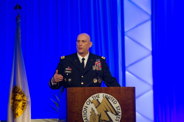 Army Chief of Staff Gen. Raymond T. Odierno gives his remarks at the Association of the U.S. Army Winter Symposium in Ft. Lauderdale, Fl.  Feb. 24, 2012.
