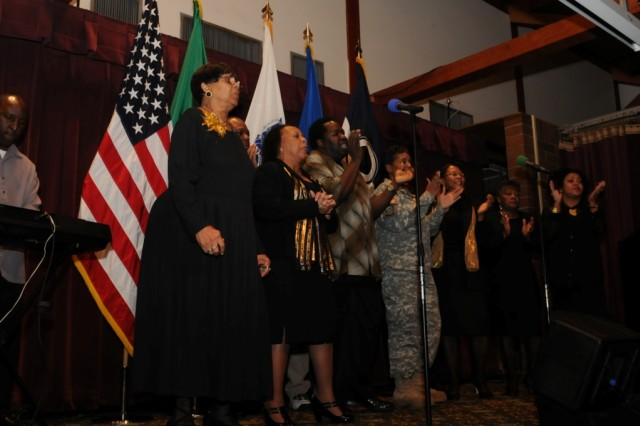JOINT BASE LEWIS MCCHORD, Wash. -The Grace Gospel Choir performs during an observance to celebrate Black History Month. The choir, based out of North Fort Lewis Chapel sang for the JBLM program Feb. 21 at the McChord Field Club. (U.S. Army photo by Sgt. Mark Miranda).