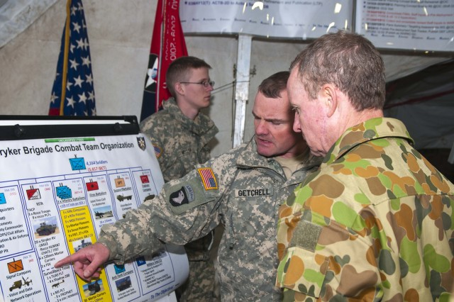 066- YAKIMA TRAINING CENTER, Wash.-- Col. Michael A. Getchell, commander of the 2nd Battalion,3rd Stryker Brigade Combat Team, briefs the brigade's structure to  Lt. Gen. David Morrison, Chief of Staff of the Australian Army during a field training exercise Feb. 6 at Yakima Training Center. (Photo by Army Staff Sgt. Teresa L. Adams, 28th Public Affairs Detachment)